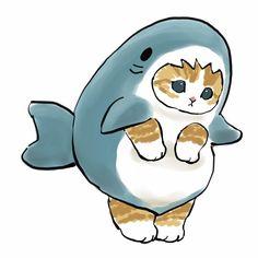 Shark Kitty Art Cute Cartoon Drawings, Cute Animal Drawings, Cartoon Pics, I Love Cats, Crazy Cats, Diy Room Decor Videos, Sand Drawing, Geek Art, Cute Icons