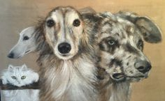 Group,acrylic on linen 100x60 #dogs#hounds#cat