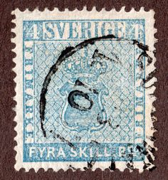 Sweden - 1855 4s Light Blue  - FU - Scott #2