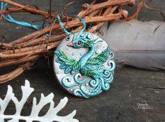 Blue Phoenix Medallion - phoenix bird pendant - necklace - fantasy jewelry - wiccan amulet - green silver - polymer clay - sky bird - ooak  by GloriosaArt