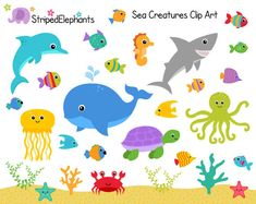 Sea Creatures Clip Art - Under the Sea Clipart - Ocean Animals Clip Art - Instant Download - Commercial Use