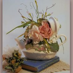 Wedding flowers centerpieces Teapot Mad by WillOtheWispWedding, $35.00