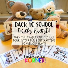 This lesson plan comes with all you need to create a memorable 1st Day or 1st Week of Kindergarten, Pre-K, or any primary grade! Lead your students on a BEAR HUNT throughout the school to acquaint them with the building layout as they meet familiar faces they will see throughout the year!Catchy rhy... Welcome To Kindergarten, Kindergarten Lesson Plans, Kindergarten First Day, Back To School, School Week, 1st Day, Teacher Pay Teachers, Building Layout, How To Memorize Things