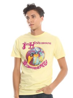 """Have you ever been experienced?<br><br>Yellow T-shirt from The Jimi Hendrix Experience featuring the Karl Ferris designed fisheye photo design for the cover of 1967's North American release of the <i>Are You Experienced </i>album.<br><ul><li style=""""list-style-position: inside !important; list-style-type: disc !important"""">100% cotton</li><li style=""""list-style-position: inside !important; list-style-type: ..."""