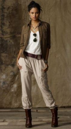 The Polished Pebble: Pure Ralph Lauren: Denim and Supply Moda Safari, Safari Outfit Women, Safari Outfits, Safari Clothes, Safari Look, Safari Chic, Look Fashion, Winter Fashion, Fashion Outfits