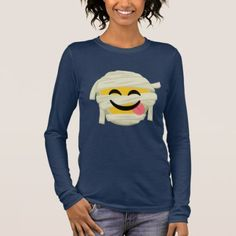Funny Mummy Bleh Emoji Halloween Long Sleeve T-Shirt - Halloween happyhalloween festival party holiday