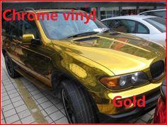 1 pc 1.52M X 50CM Gold chrome vinyl film with bubble free chrome car wrap chrome car sticker  Free Shipping