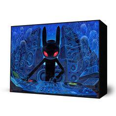 DJ BlackRabbit by Aaron Jasinski  Mini Art Block - $35  Available at Eyes On Walls  http://www.eyesonwalls.com/collections/mini-art-blocks-by-aaron-jasinski/products/dj-blackrabbit-mini-art-block#  #art #gift