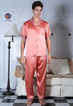 Mens Silk Pajamas, Pajamas Women, Mens Nightshirts, Silk Charmeuse, Pyjamas, Nightwear, Pajama Set, Elastic Waist