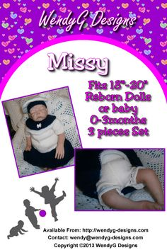 """***MISSY***   ***KNITTING PATTERN ONLY***  To fit 18-20"""" Reborn doll   Pattern contains instructions for Dress, panties and beret.  Collar is knitted separate and there for removable"""
