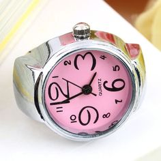 1pcs Creative Fashion Steel Round Elastic Quartz Finger Ring Watch Lady Girl Christmas gift Wholesale Top Quality