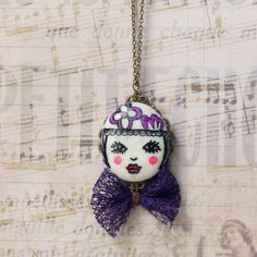 Long Pendant Necklace, Butterfly Knot, Teen Girls Jewelry, Christmas Gift Idea, Handmade Jewelry, Handpainted Jewelry, Face Cabochon by bleuluciole on Etsy