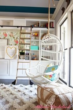 A beautiful little reading nook in a dreamy home library office space! Fun and whimsical details around every corner including a hanging chair swing, Ikea hack bookcases, teal striped ceiling, rolling library ladder and much more! Home Office Storage, Home Office Chairs, Home Office Design, Home Office Decor, Home Decor, Office Organization, Hanging Swing Chair, Swinging Chair, Hanging Chairs