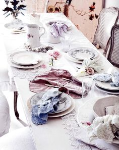 dusty rose table scape place setting