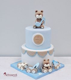 Baby shower cake for boy baby boy christening cake by elegant ted Torta Baby Shower, Baby Shower Cakes For Boys, Baby Boy Cakes, Baby Boy Christening Cake, Decors Pate A Sucre, Cupcakes Decorados, Teddy Bear Cakes, Teddy Bear Baby Shower, Baby Birthday Cakes