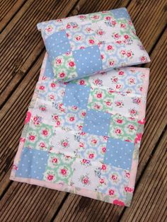 SMALL Handcrafted Dolls crib / pram quilt and by RenandStitchy, £10.00