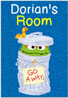 """SESAME STREET OSCAR THE GROUCH MURAL wall stickers 5 decals 28/"""" room stickup"""