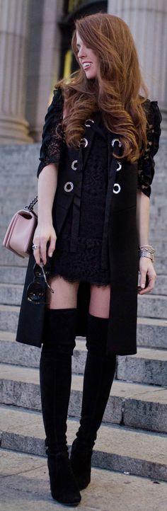 Black Coat / Black OTK Boots / Pink Leather Shoulder Bag