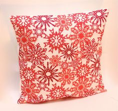 Red Snowflake Christmas Pillow Cover, holiday decor bexcaliber