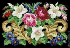 Купить Букет с лилиями (дизайн для сумочки0 - комбинированный, ретро, схема для вышивки, схема для вышивки крестом