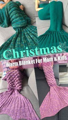 Christmas-Warm Blanket For Mom & Kids Xmas Gifts, Cute Gifts, Diy Gifts, Christmas Presents, Blankets For Sale, Warm Blankets, Crochet Needles, Knit Crochet, Loom Knitting Patterns