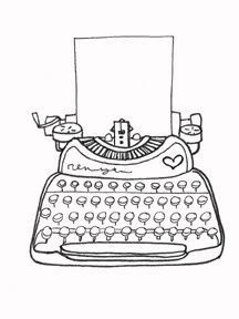 A black and white ink line drawing of a typewriter. An