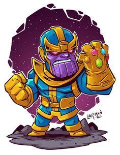 The Art of Derek Laufman — Chibi Thanos Hero Marvel, Chibi Marvel, Marvel Art, Marvel Dc Comics, Marvel Gems, Chibi Superhero, Marvel Canvas, Hulk Superhero, Superhero Cosplay
