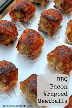 BBQ Bacon Wrapped Meatballs- Simple, tasty, your guests will LOVE this appetizer!  #appetizers #meatballs