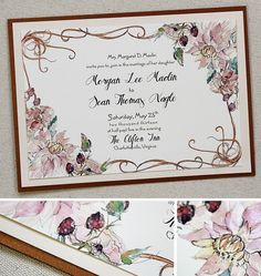 Pink And Ivory Watercolor Bouquet Art Nouveau Wedding Invitation