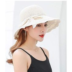$11.19 & FREE Shipping White/Ivory Woman Foldable Floppy Knitted Beach Sun Hats UPF Travel Packable UV Hat Cotton