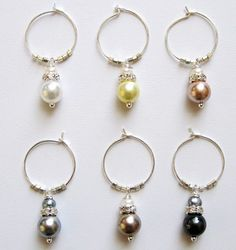 Silver Pearl Wine Charms - view 1