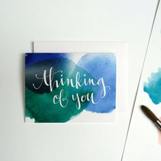 Single Greeting Card, Watercolor and Hand Typography Anniversary, Birthday, New Year by anopensketchbook on Etsy https://www.etsy.com/listing/218325761/single-greeting-card-watercolor-and-hand