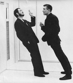 Stanley Kubrick and William Sylvester smoking on one of the Zero-G sets of 2001 A Space Odyssey