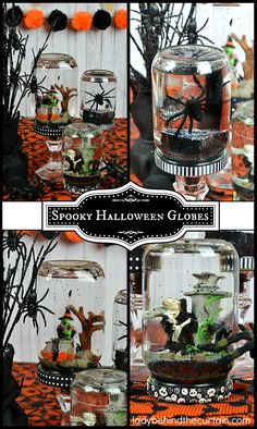 How to Make Spooky Halloween Globes PLUS a Video – Organics® Baby food Spooky Halloween, Halloween Diorama, Halloween Class Party, Dollar Store Halloween, Easy Halloween Decorations, Halloween Party Favors, Halloween Goodies, Holidays Halloween, Halloween Crafts