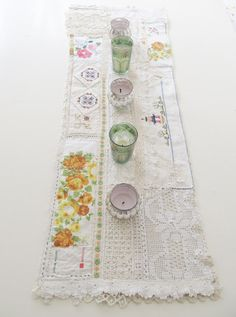 table runner how-to made from vintage linens & lace, by dottie angel