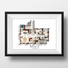 New Girl TV Show Apartment Floor Plan with Quotes- New Girl TV Show Layout - Apartment 4D Layout - New Girl Poster - Gift for New Girl Fan