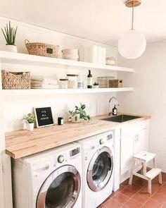 Laundry Room Organization, Organization Ideas, Laundry Decor, Ikea Laundry Room, Outside Laundry Room, Basement Laundry, Laundry Storage, Küchen Design, Design Ideas