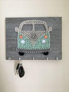 Creative DIY Wall Art for Living Room - String Art Westfalia keychain holder Bicycle String Art, String Art Diy, String Art Heart, Bicycle Art, Metal Tree Wall Art, Diy Wall Art, Diy Art, Crafts To Sell, Fun Crafts