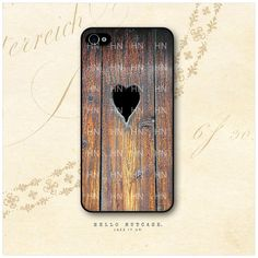 iPhone 4 and 4S case Wood and Heart by HelloNutcase on Etsy, $18.00