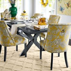 Love these chairs. | Corinne Dining Chair-Gold Floral | Pier 1 Imports