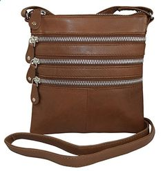 Genuine Leather Women's Casual Multi-Pocket Small Crossbody Bag With Metal Zippers (Tan). Visit website to read more description.