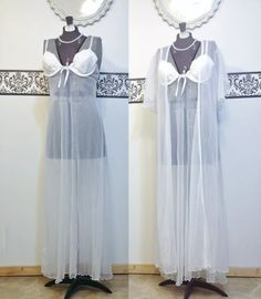 Vintage Sheer White Floor Length Pin Up by RetrosaurusRex on Etsy