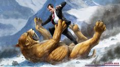 Richard Nixon fighting a Sabertooth Tiger. Jason Heuser, etsy store. Also available (among many: Teddy Roosevelt vs. Bigfoot)