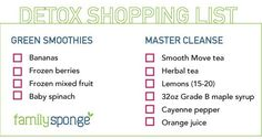 Family Sponge 7-Day Detox Challenge: Green Smoothies + Master Cleanse Shopping List