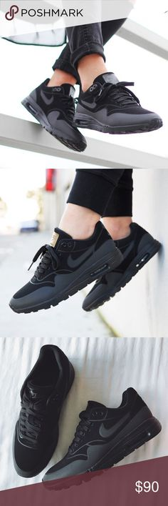 the best attitude 448bd bd3f7 Nike Triple Black Air Max 1 Ultra Moire Sneakers •The Nike Air Max 1 Ultra