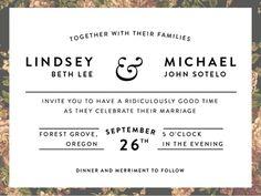 Lindsey & Michael Invitations