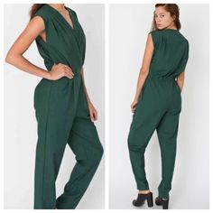 NWOT Cute American Apparel Jumpsuit I bought this jumpsuit online and removed the tags but I have not worn it. It's ADORABLE but due to my odd proportions (short torso and long legs), it doesn't fit me quite right. My loss is your gain! There is a side zipper and the forest green color is very flattering. Open to offers! American Apparel Other
