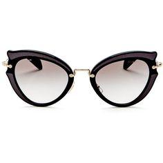 Miu Miu Cat Eye Sunglasses, 42mm ($500) ❤ liked on Polyvore featuring accessories, eyewear, sunglasses, miu miu, cat-eye glasses, miu miu glasses, cateye sunglasses and cat eye sunglasses