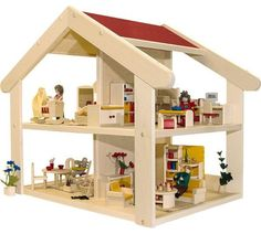 Rülke Puppenhaus Filius.    von allen Seiten bespielbar  aus öko-zertifiziertem Holz (PEFC/FSC)  traditionelle Fertigung im Erzgebirge  Maße: 65 x 46 x 60 cm  http://www.ruelke-gmbh.de/ruelke_spiel/sites/produkte/produkte.html