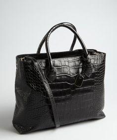 Furla : black croc embossed leather 'Martha' top handle bag : style # 322209901